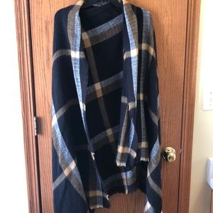 Black and Tan plaid Blanket Scarf/ Shawl